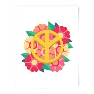 Peace Symbol Floral Art Print
