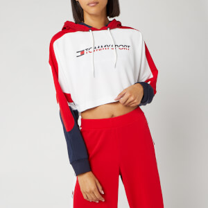 Tommy Sport Women's Flag Tape Crop Hoody - True Red