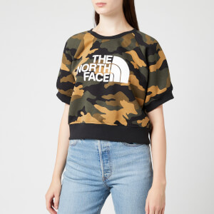 The North Face Women's NSE Graphic Short Sleeve Crew Neck Sweatshirt - Burnt Olive Green Waxed Camo Print