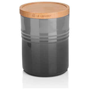 Le Creuset Stoneware Medium Storage Jar with Wooden Lid - Flint