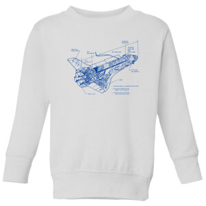 Shuttle Side View Schematic Kids' Sweatshirt - White