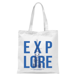 Explore Schematic Tote Bag - White