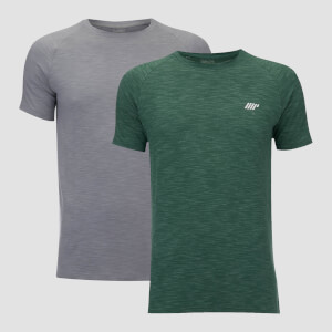 Performance 2 Pack T-Shirts - Green Marl/Grey Marl