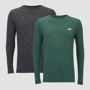 Performance 2 Pack Long Sleeve T-Shirts - Charcoal Marl/Green Marl