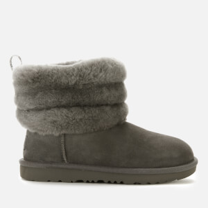 UGG Kids' Fluff Mini Quilted Logo Tab Boots - Charcoal