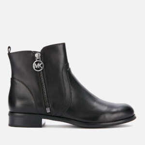 MICHAEL MICHAEL KORS Women's Karsyn Leather Flat Ankle Boots - Black