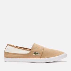 Lacoste Men's Marice Canvas Slip On Trainers - Light Tan/White