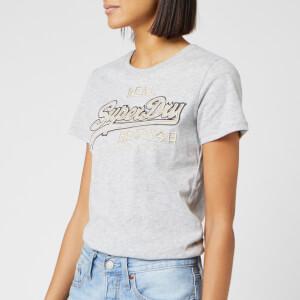 Superdry Women's V Logo Emb Outline Entry T-Shirt - Grey Marl