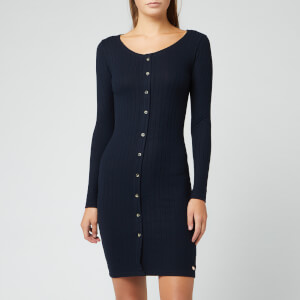 Superdry Women's Button Down Rib Mini Dress - Deep Navy