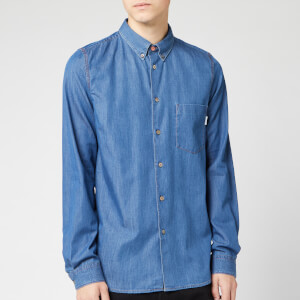PS Paul Smith Men's Sports Stripe Embroidery Detail Chambray Shirt - Blue