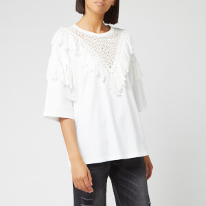 See By Chloé Women's Fringed Top - White Powder