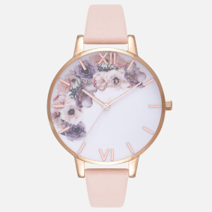 Olivia Burton Women's Watercolour Florals Watch - Nude Peach and Rose Gold