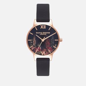 Olivia Burton Women's Dark Bouquet Watch - Black and Rose Gold
