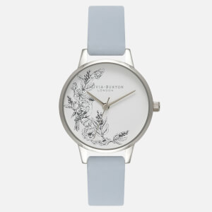 Olivia Burton Women's Illustrated Animals Sparrow Watch - Chalk Blue and Silver