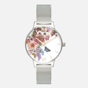 Olivia Burton Women's Enchanted Garden Watch - Silver Mesh and Rose Gold