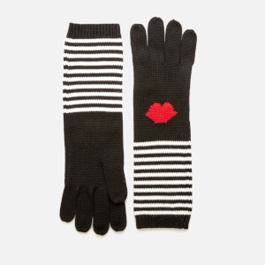 Lulu Guinness Women's 50:50 Lip Stripe Gloves - Multi