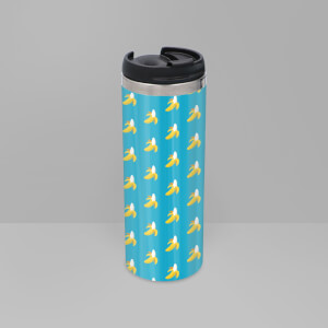 Banana Pattern Stainless Steel Travel Mug - Metallic Finish