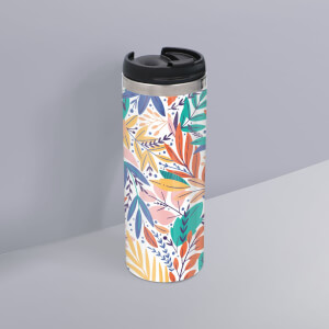 Colourful Leaf Print Stainless Steel Travel Mug