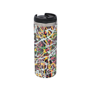 Splatter Pattern Stainless Steel Travel Mug - Metallic Finish