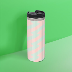 Coral And Mint Zig Zag Stainless Steel Travel Mug