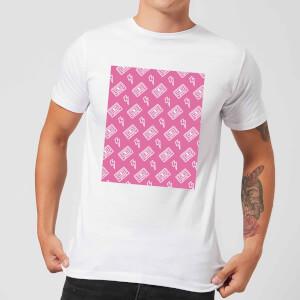 Cassette Tape Pattern Pink Men's T-Shirt - White