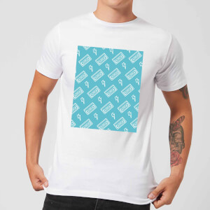 VHS Tape Pattern Blue Men's T-Shirt - White