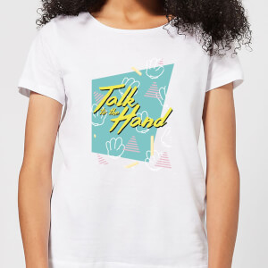 Talk To The Hand Square Patterned Background Women's T-Shirt - White