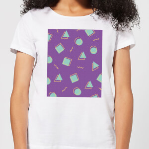 90's Circle Square Triangle Pattern Women's T-Shirt - White