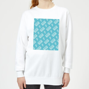 VHS Tape Pattern Blue Women's Sweatshirt - White