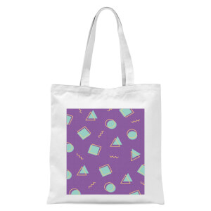 90's Circle Square Triangle Pattern Tote Bag - White