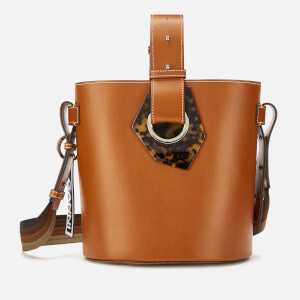 Ganni Women's Leather Bucket Bag - Cognac