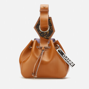 Ganni Women's Leather Drawstring Bag - Cognac