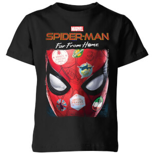 Spider-Man Far From Home Stickers Mask Kids' T-Shirt - Black