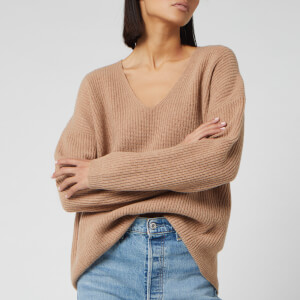 Whistles Women's V Neck Rib Wool Sweater - Camel