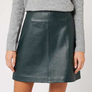 Whistles Women's Leather A Line Skirt - Dark Green