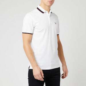 Emporio Armani Men's Embroided Logo Polo Shirt - White