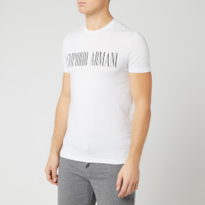 Emporio Armani Men's Script Chest Logo T-Shirt - White