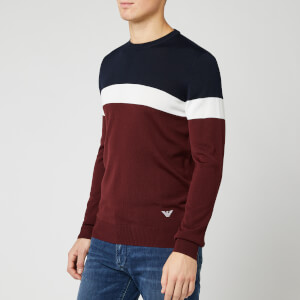 Emporio Armani Men's 3 Tone Crew Neck Sweater - Navy/White/Burgundy