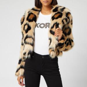 MICHAEL MICHAEL KORS Women's Mega Cat Faux Fur Jacket - Dark Camel