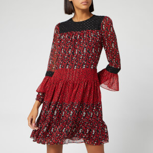 MICHAEL MICHAEL KORS Women's Maple Grove Mix Dress - Black/Scarlet