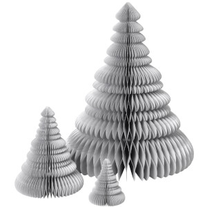 Broste Copenhagen Paper Christmas Tree Decoration (Set of 3) - Silver