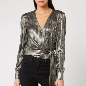 Ted Baker Women's Elwiira Metallic Wrap Top - Silver