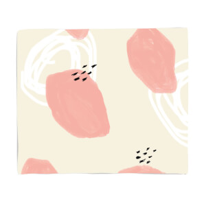 Pink And White Blobs Pattern Fleece Blanket