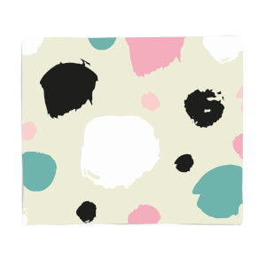 Pink, Green And Black Circle Pattern Fleece Blanket