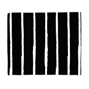 Black And White Vertical Stripes Fleece Blanket