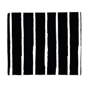 Black And White Vertical Stripes Fleece Blanket