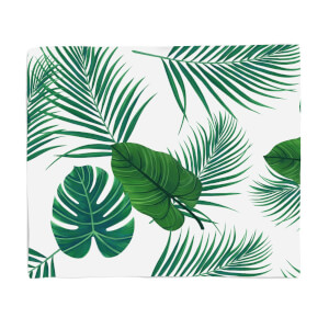 Tropical Leaves Fleece Blanket
