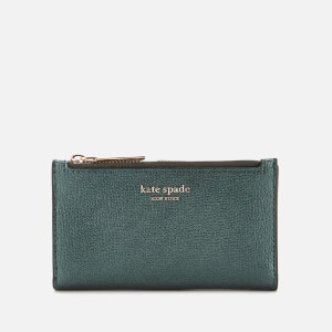 Kate Spade New York Women's Sylvia Small Slim Bifold Wallet - Deep Evergreen Metallic