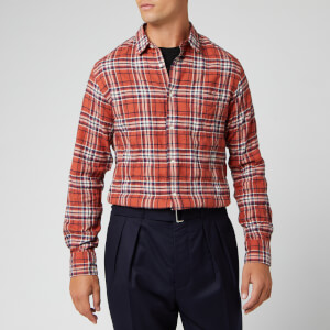 Officine Generale Men's Lipp Japanese Textured Check Shirt - Rust/Navy