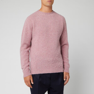 Officine Generale Men's Seamless Crewneck Brushed Shetland Jumper - Woodrose